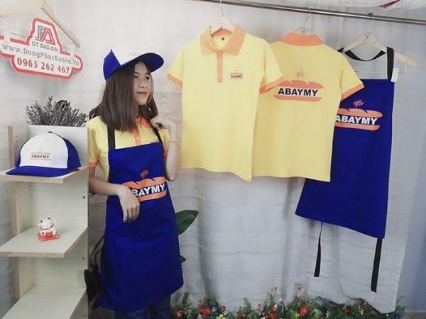 Mẫu đồng phục áo thun, tạp dề, nón ABAYMY