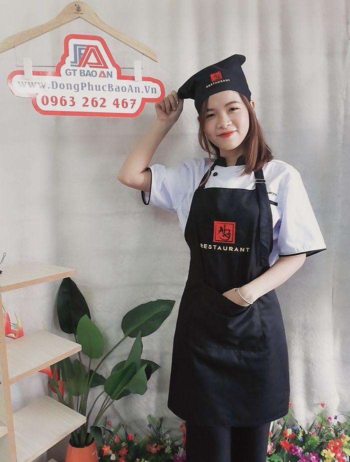 May tạp dề dài cho nhân viên nhà hàng Trung Quốc