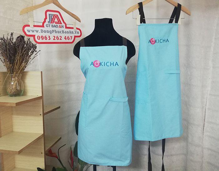 Mẫu tạp dề tiệm trà sữa đẹp tại Bình Thuận - AOKICHA 01