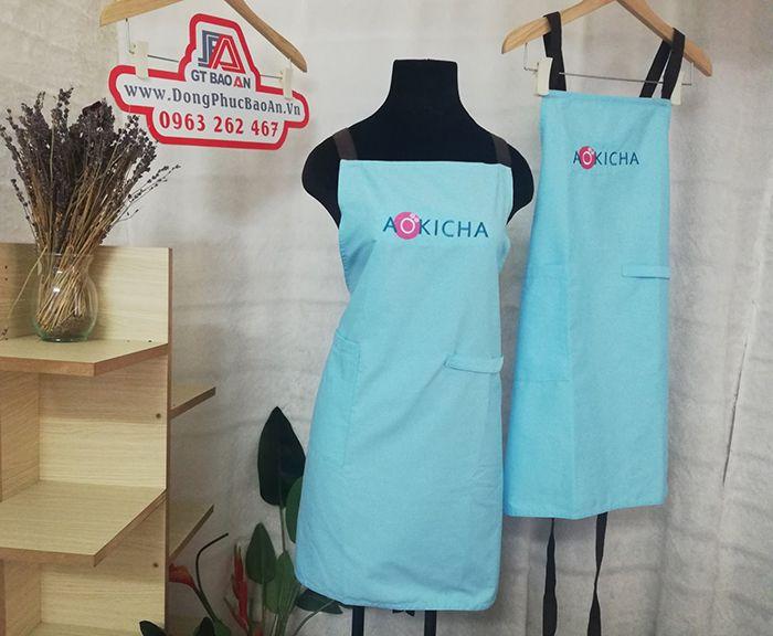 Mẫu tạp dề tiệm trà sữa đẹp tại Bình Thuận - AOKICHA 02