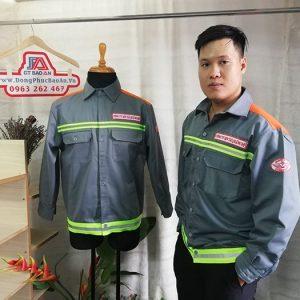 Áo Bảo Hộ Kaki Phối Màu Cam Nhập Khẩu Có Phản Quang 01