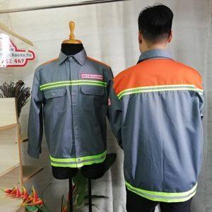 Áo Bảo Hộ Kaki Phối Màu Cam Nhập Khẩu Có Phản Quang 02