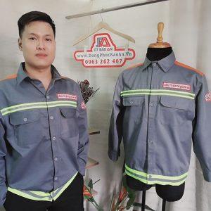 Áo Bảo Hộ Kaki Phối Màu Cam Nhập Khẩu Có Phản Quang 03