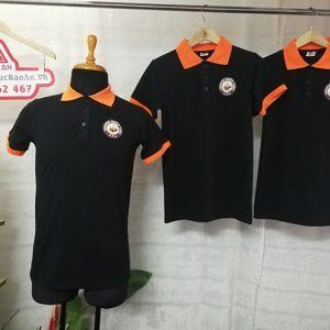 May đồng phục áo thun cổ trụ in logo quán coffee 02