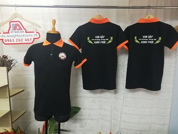 May đồng phục áo thun cổ trụ in logo quán coffee 03
