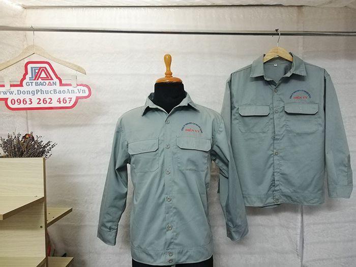 May áo bảo hộ lao động nhân viên cơ khí xây dựng Công Ty Điền Vy 01