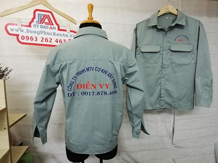May áo bảo hộ lao động nhân viên cơ khí xây dựng Công Ty Điền Vy 02