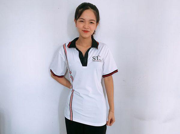 Đồng phục áo thun cổ V công ty mỹ phẩm ST Beauty 01