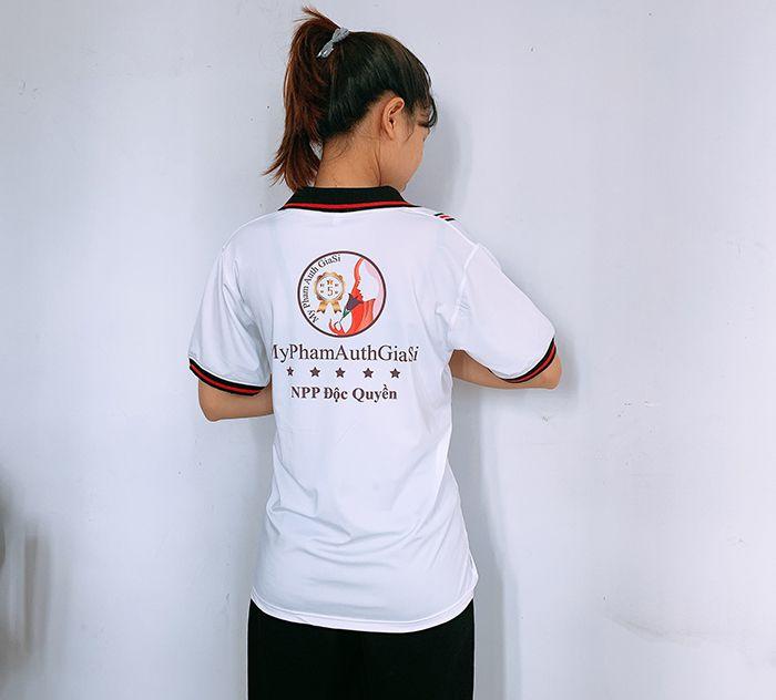 Đồng phục áo thun cổ V công ty mỹ phẩm ST Beauty 03