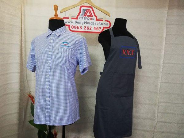 May tạp dề đồng phục quán in thêu logo V.V.T 03