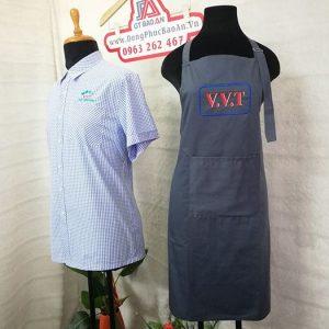 May tạp dề đồng phục quán in thêu logo V.V.T 04