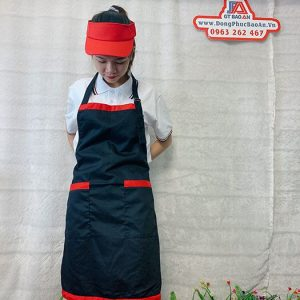 Tạp Dề Kaki Màu Đen Viền Đỏ Phục Vụ Tiệm Bánh 02