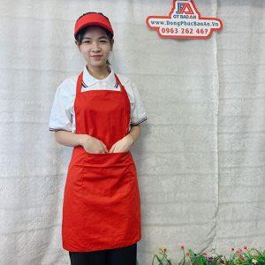 Tạp Dề Kaki Màu Đỏ Phục Vụ Quán Ăn, Cafe, Nhà Hàng 01