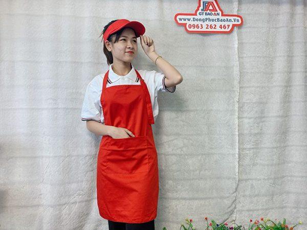 Tạp Dề Kaki Màu Đỏ Phục Vụ Quán Ăn, Cafe, Nhà Hàng 02