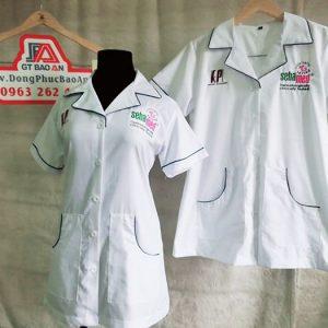 Áo blouse dược sĩ tay ngắn thân ngắn vải kate đẹp 04