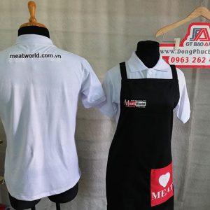 Áo thun - tạp dề in chuyển nhiệt đồng phục quán ăn - Meat World 01