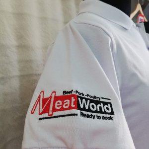 Áo thun - tạp dề in chuyển nhiệt đồng phục quán ăn - Meat World 03