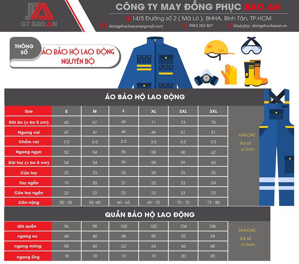 bảng thông số size áo bảo hộ lao động