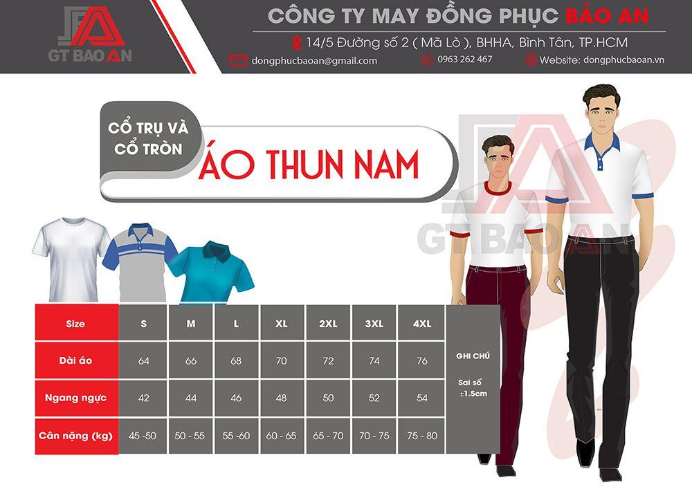 bảng thông số size áo thun nam