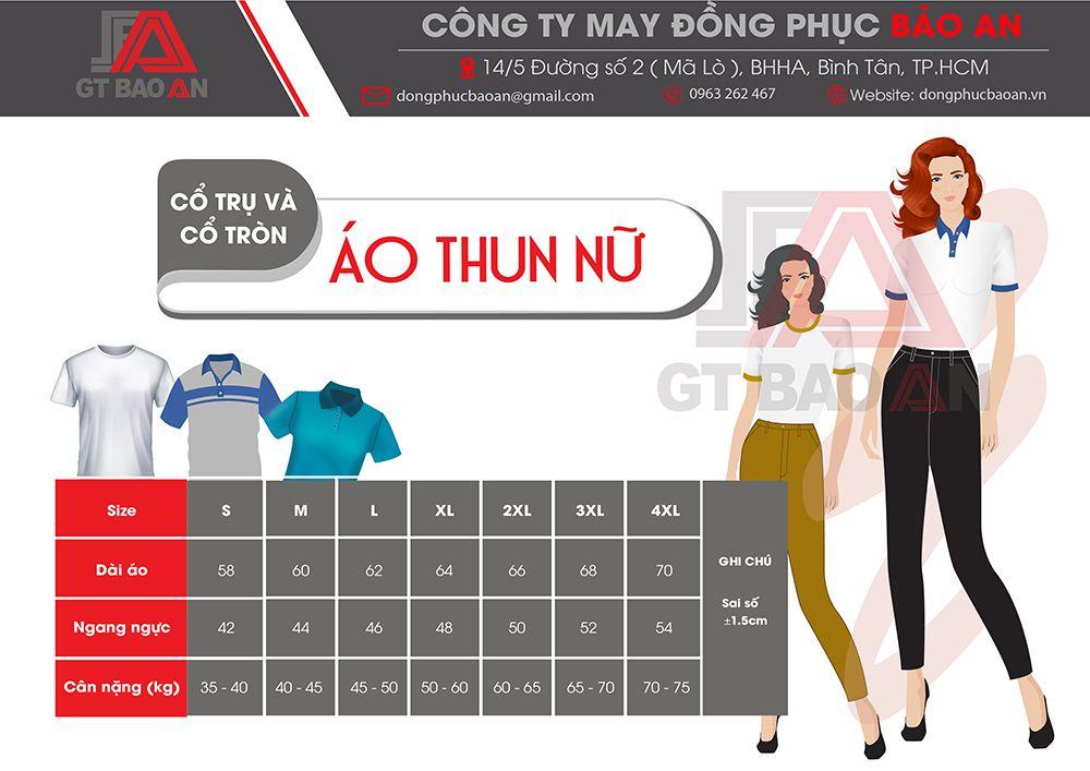 bảng thông số size áo thun nu