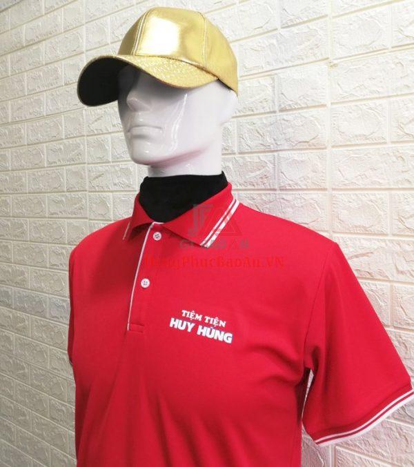 Mẫu Áo Thun Đồng Phục Màu Đỏ Tiệm Tiện Huy Hùng – Xưởng Áo Thun Bình Tân