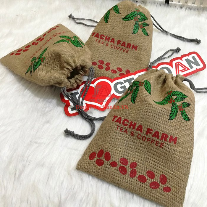 Túi Vải Đay Dây Rút Đựng Cà Phê TACHA FARM - May Túi Vải Bố In Logo Theo Yêu Cầu