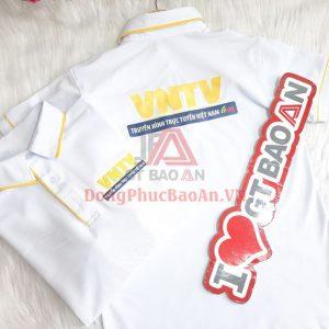 Mẫu Áo Phông Đồng Phục Công Sở Màu Trắng Cao Cấp VNTV – May Đồng Phục Giá Rẻ Biên Hòa