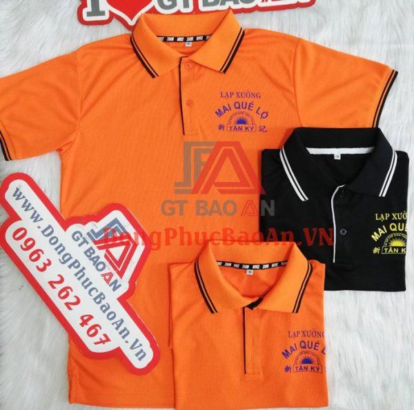 Mẫu Áo Thun Đồng Phục Cổ Trụ Thun Dệt Thể Thao May Sẵn, In Logo – Mai Quế Lộ