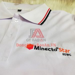 Mẫu Áo Thun Đồng Phục Giá Rẻ Màu Trắng Phối Viền, Có In/Thêu Logo – Minecto STAR Syngenta