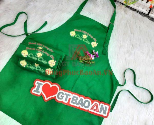 Mẫu Tạp Dề Yếm Đồng Phục Quán Kaki Pangrim Hàn Quốc Màu Xanh Lá – Bánh Ướt Lòng Gà Chip Chip