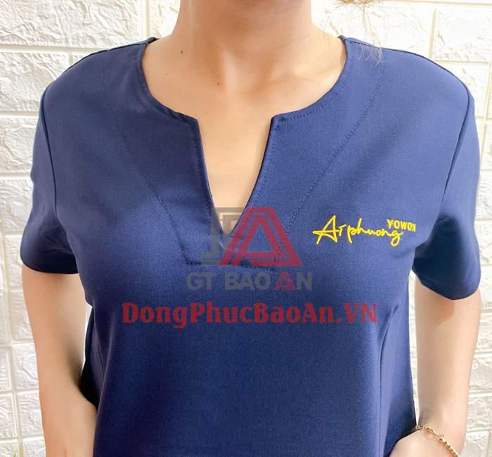 Mẫu Bộ Đồng Phục Nhân Viên Spa Màu Xanh Ai Phuong YOWON