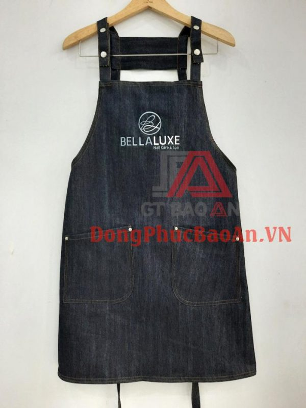 Mẫu Tạp Dề Vải Jean Đồng Phục – Tạp Dề Spa Nails Cao Cấp BELLALUXE