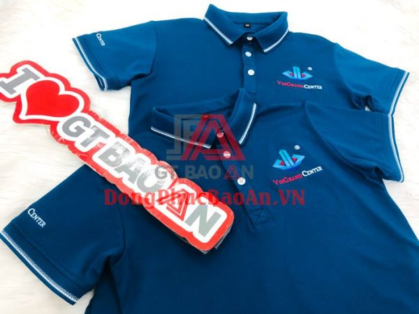 May áo đồng phục nhân viên công ty bất động sản đẹp nhất TPHCM – Mẫu áo thun đồng phục VINGRAND CENTER