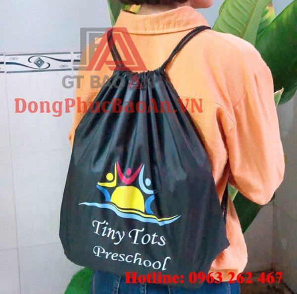May Balo/Túi Rút Chống Thấm Trường Mầm Non Quốc Tế Tiny Tots Preschool TPHCM