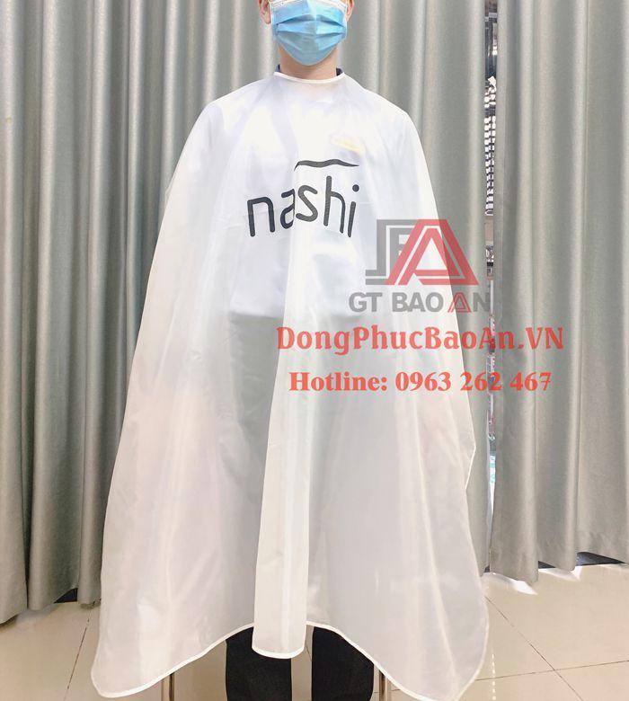 Xưởng may áo choàng cắt tóc chuyên nghiệp cho salon tóc tại TPHCM – Áo choàng cắt tóc màu trắng NASHI cao cấp