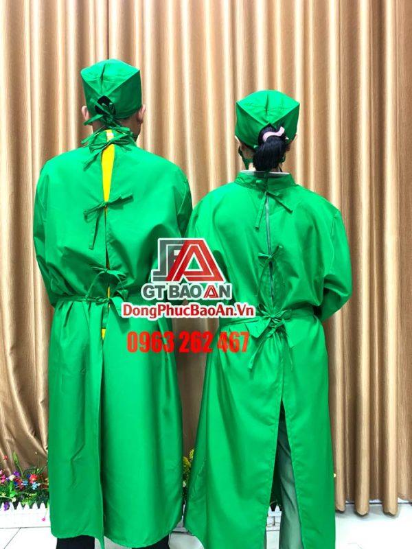 Áo choàng bác sĩ phòng mổ màu xanh lục, Đồng phục phẫu thuật nam nữ có sẵn tại TPHCM