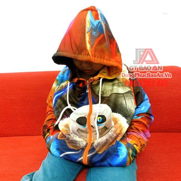 Áo khoác Sans trẻ em, Áo khoác bé trai in hình Sans 3D cực chất, Áo hoodie trẻ em hình in hoạt hình có khóa kéo