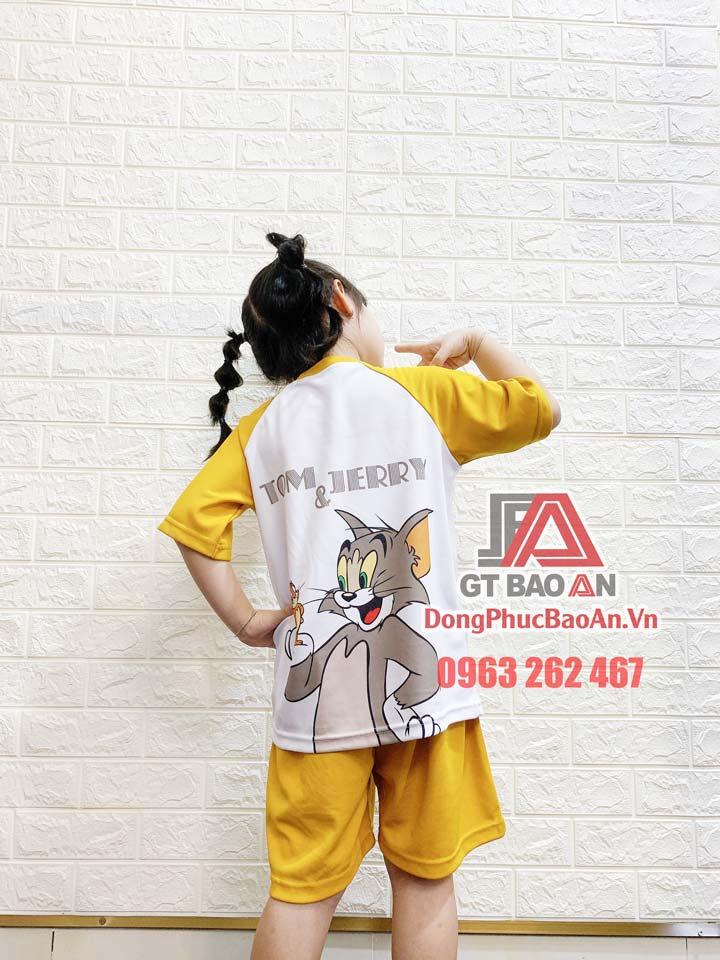 [Có Sẵn] Bộ đồ lửng mặc nhà cho bé trai, bé gái hình in Tom and Jerry màu vàng - Bộ quần áo trẻ em Bảo An Kids vải Cá Sấu Bamboo