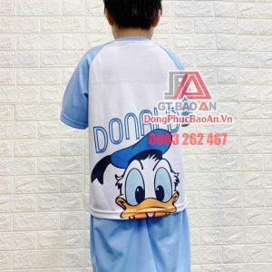 [Có Sẵn] Bộ đồ trẻ em Bảo An Kids hình in Vịt Donald màu xanh - Bộ quần áo mặc nhà bé gái, bé trai Cá Sấu Bamboo