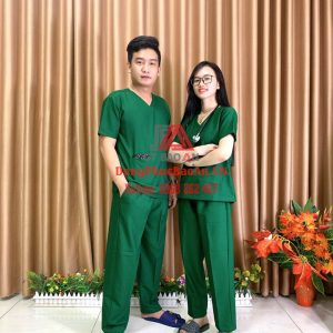 [May Sẵn] Bộ quần áo bác sĩ phẫu thuật màu xanh, Bộ Scrubs đồng phục phòng mổ cao cấp