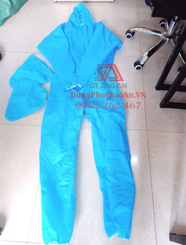 Bộ quần áo phòng dịch dùng 1 lần (SET 4 món), bộ quần áo bảo hộ y tế chống dịch màu xanh