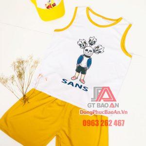 [Có sẵn] Đồ bộ sát nách quần đùi vải Bamboo hình in Sans cho bé từ 4 đến 10 tuổi