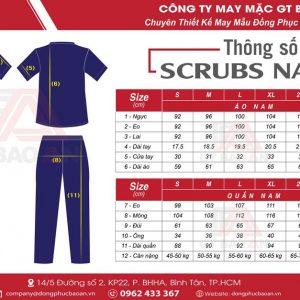 Bảng size và cách chọn size quần áo Blouse bác sĩ, bộ đồ Scrubs cổ tim nam nữ tại GT Bảo An