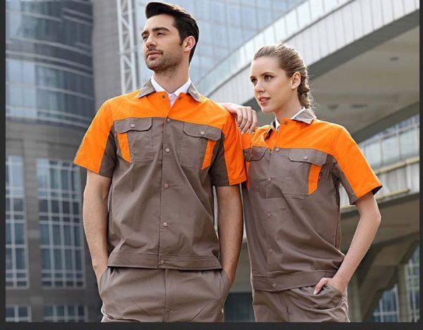 Bộ đồng phục bảo hộ cao cấp tay ngắn mẫu CK03-02 - Bộ quần áo bảo hộ ngành cơ khí, thợ sửa chữa gara ô tô màu Nâu Phối Cam