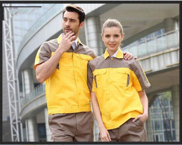 Bộ đồng phục bảo hộ cao cấp tay ngắn mẫu CK03-03 - Quần áo bảo hộ ngành cơ khí, thợ sửa chữa gara ô tô màu Vàng Phối Nâu