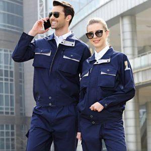 Bộ quần áo bảo hộ túi hộp tay dài cao cấp mẫu CK04 - Quần áo bảo hộ cho kỹ sư cơ khí, thợ sửa chữa máy công nghiệp màu xanh đen phối ghi xám