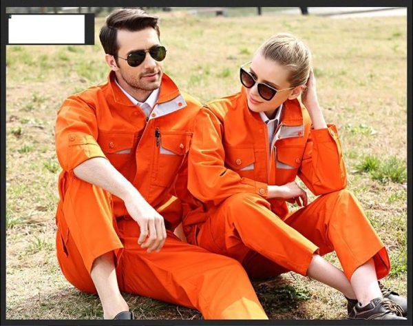 Bộ quần áo bảo hộ túi hộp tay dài cao cấp mẫu CK04-02 - Quần áo bảo hộ kỹ thuật, thợ sửa chữa máy công nghiệp màu cam phối ghi xám