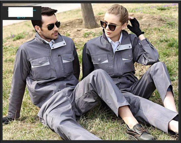 Bộ quần áo bảo hộ túi hộp tay dài cao cấp mẫu CK04-03 - Mẫu quần áo kỹ thuật, thợ sửa chữa máy công nghiệp màu xám phối ghi