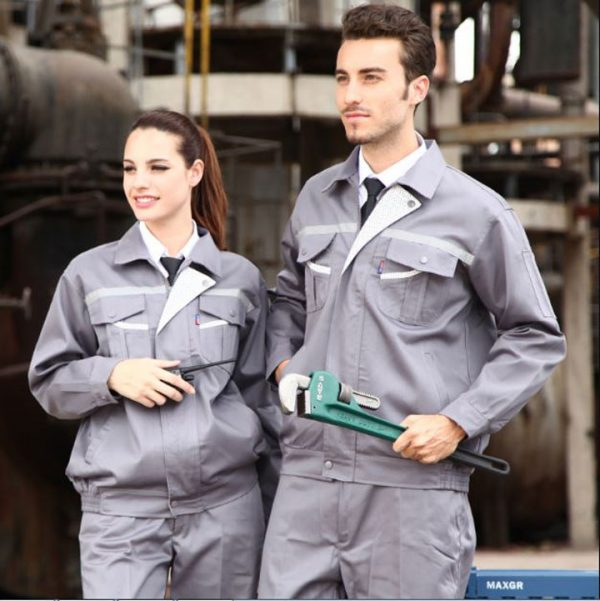 Bộ đồng phục bảo hộ cao cấp tay dài có phản quang mẫu CK05 - Quần áo kỹ sư công trình, thợ sửa chữa máy công nghiệp, ô tô màu xám
