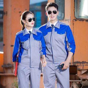Bộ quần áo bảo hộ cao cấp tay dài mẫu CK06 - Quần áo bảo hộ kỹ sư công trình, kỹ thuật, thợ sửa chữa máy công nghiệp màu ghi phối xanh